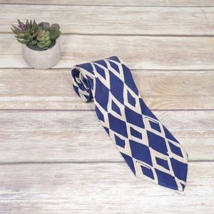 Hugo Boss Blue & Tan Diamond Shapes Silk Tie 3.75""